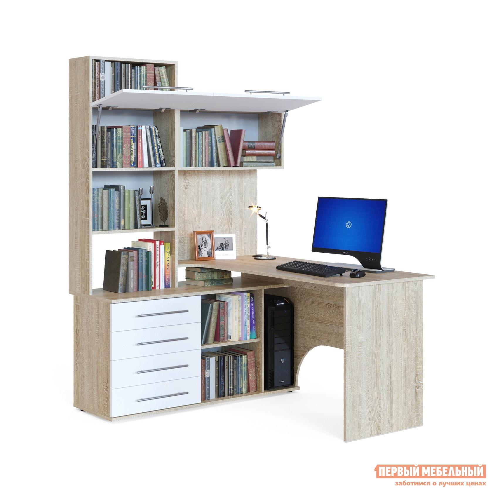 Купить угловой компьютерный стол кст-14 с надстройкой и шкаф.